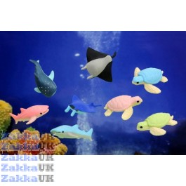 8 pieces Iwako Deep Sea Animals - Sea Turtle Shark Stingray Erasers Made in Japan