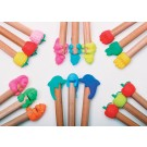 6 pieces Iwako  Pencil Top set - Animals & Fruits Japanese Erasers Made in Japan