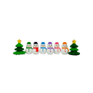 8 pieces Iwako Snowman and Christmas Tree Japanese Erasers Made in Japan