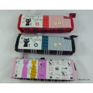 ZakkaUK Novelty Pencil Cases Zipper Zakka Style Pussy Cat Design (12pcs - 3 Assorted designs)
