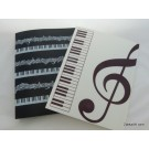 ZakkaUK Treble Clef Music Theme 40 pockets Plastic Folders 6pcs - 2 assorted designs