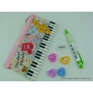 ZakkaUK Transparent Zipper Pouch Music Theme Stationery Set