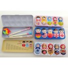 ZakkaUK  Large Colourful People of the World Metal Pencil Case Box (10pcs - 4 assorted design)